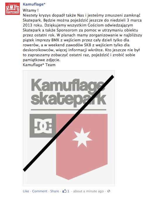 kamuflage skatepark zamknięcie